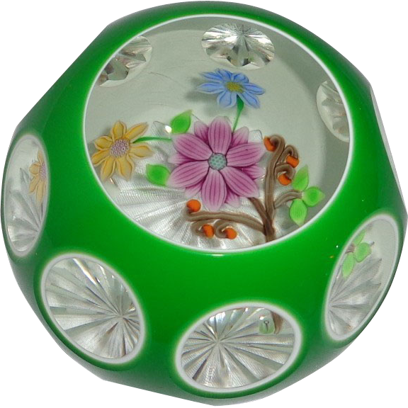 PERTHSHIRE - 1989 Faceted Green Overlay Bouquet Paperweight - Limited Edition