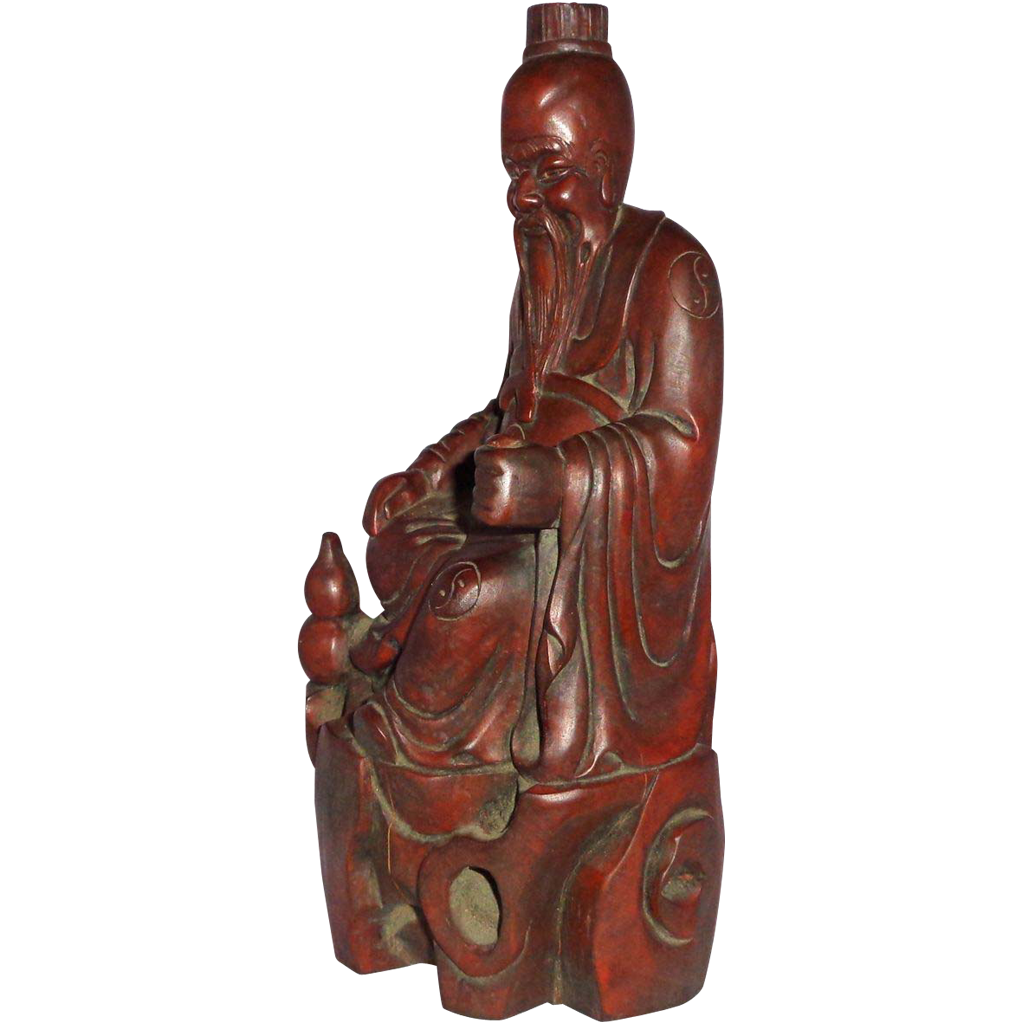 Chinese Well-Carved Wood Figure (Sage or Lohan) With Yin and Yang Symbols