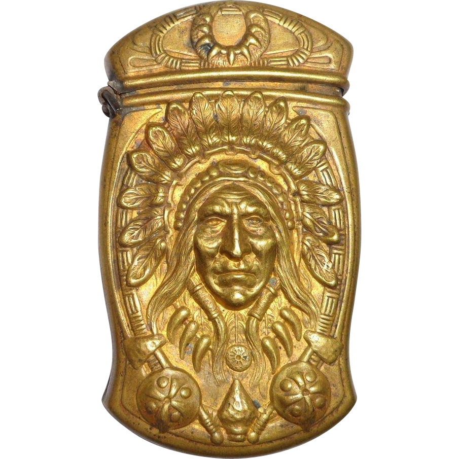 Antiques Collectibles: Rare Antique Gorham Brass Indian Head Match Safe Prototype