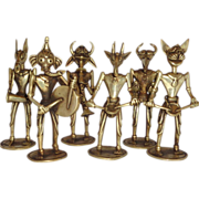 Six Piece Brass Band - Dhokra Fanciful Animal Headed Human Bodies - Northern India