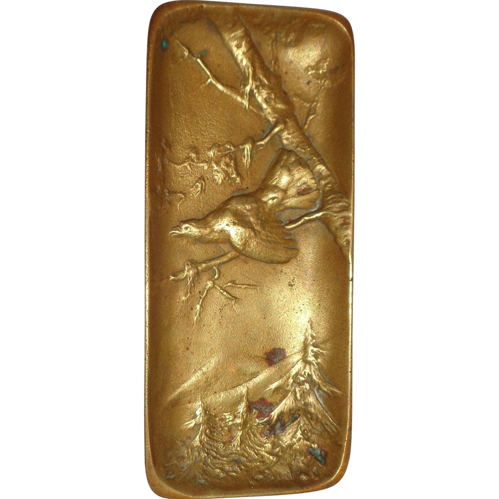 Antique Austrian Bronze Pin Dish With a Capercaillie (or Wood Grouse) - Signed Berndorf
