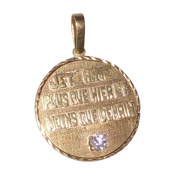 Custom Vintage 14k Gold Pendant With Diamond -With The Most Romantic Hand Carved Lettered Inscription