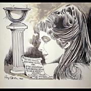 ELIZABETH TAYLOR -  Original Ray Osrin Drawing - John Wayne Award
