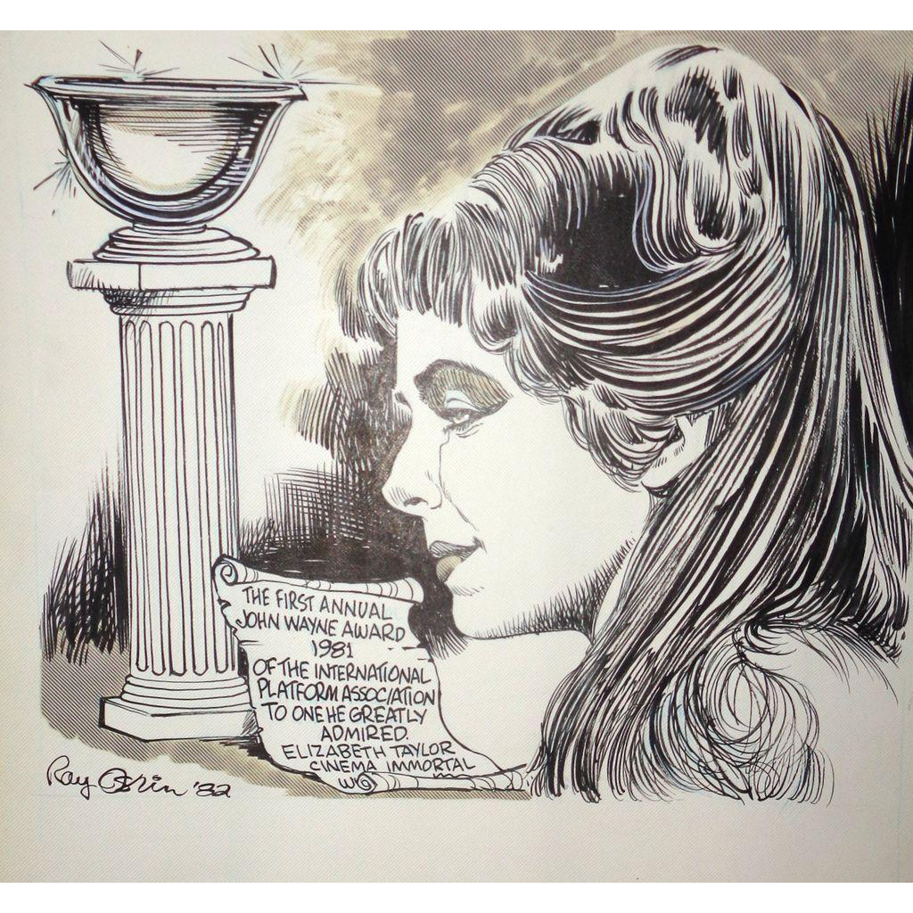ELIZABETH TAYLOR -  Original Ray Osrin Drawing - John Wayne Award