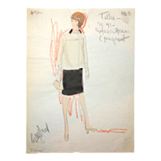 CAROL BURNETT - Edith Head Signed Sketch, Circa 1963