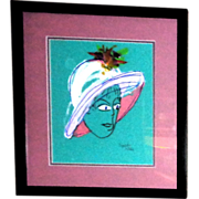 "PHYLLIS DILLER Estate - ""Tiffany"" -Original Mixed Media On Paper,  Signed"