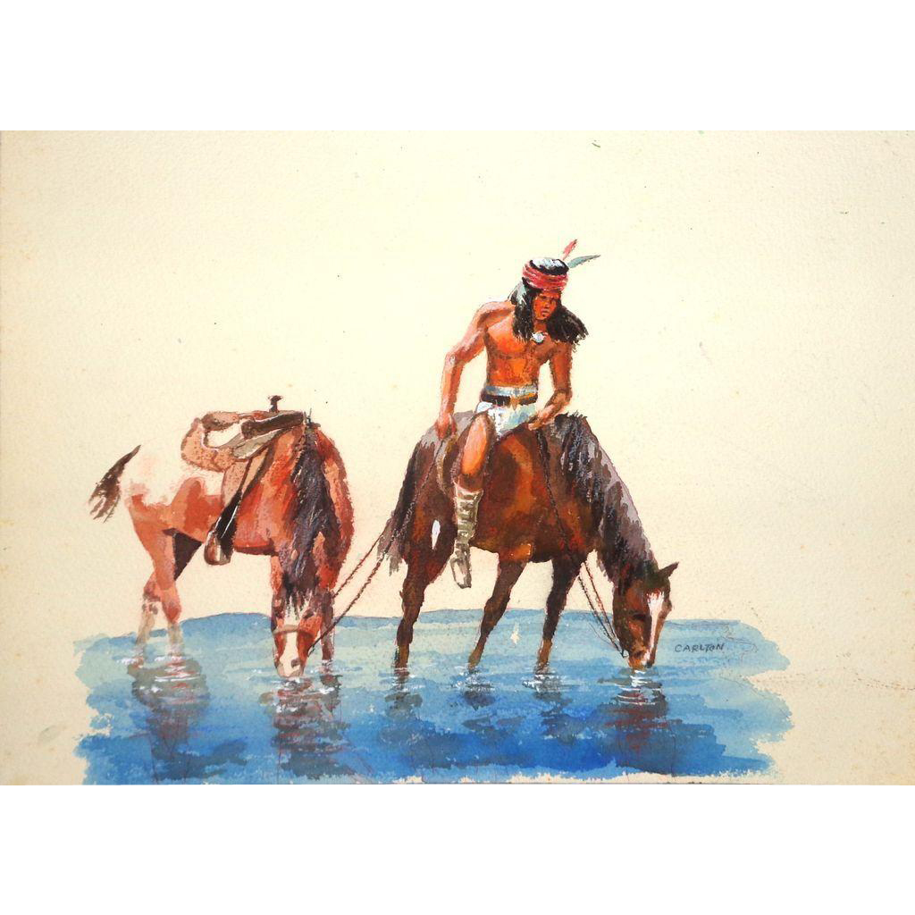 Original Watercolor - Indian On Horseback At Water - Signed Carlton