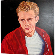 """JAMES DEAN -  Huge Portrait by Kabbaz- """"Rebel Without A Cause"""" Signed and Dated"""