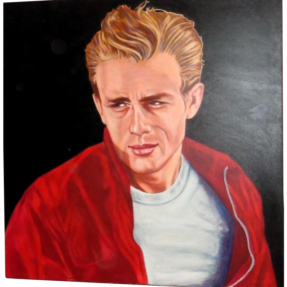 "JAMES DEAN -  Huge Portrait by KABBAZ- ""Rebel Without A Cause"" Signed and Dated"