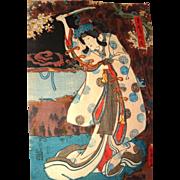 KUNISADA (Toyokuni III) - Color Woodblock Print With Actor Portrayal, circa 1852
