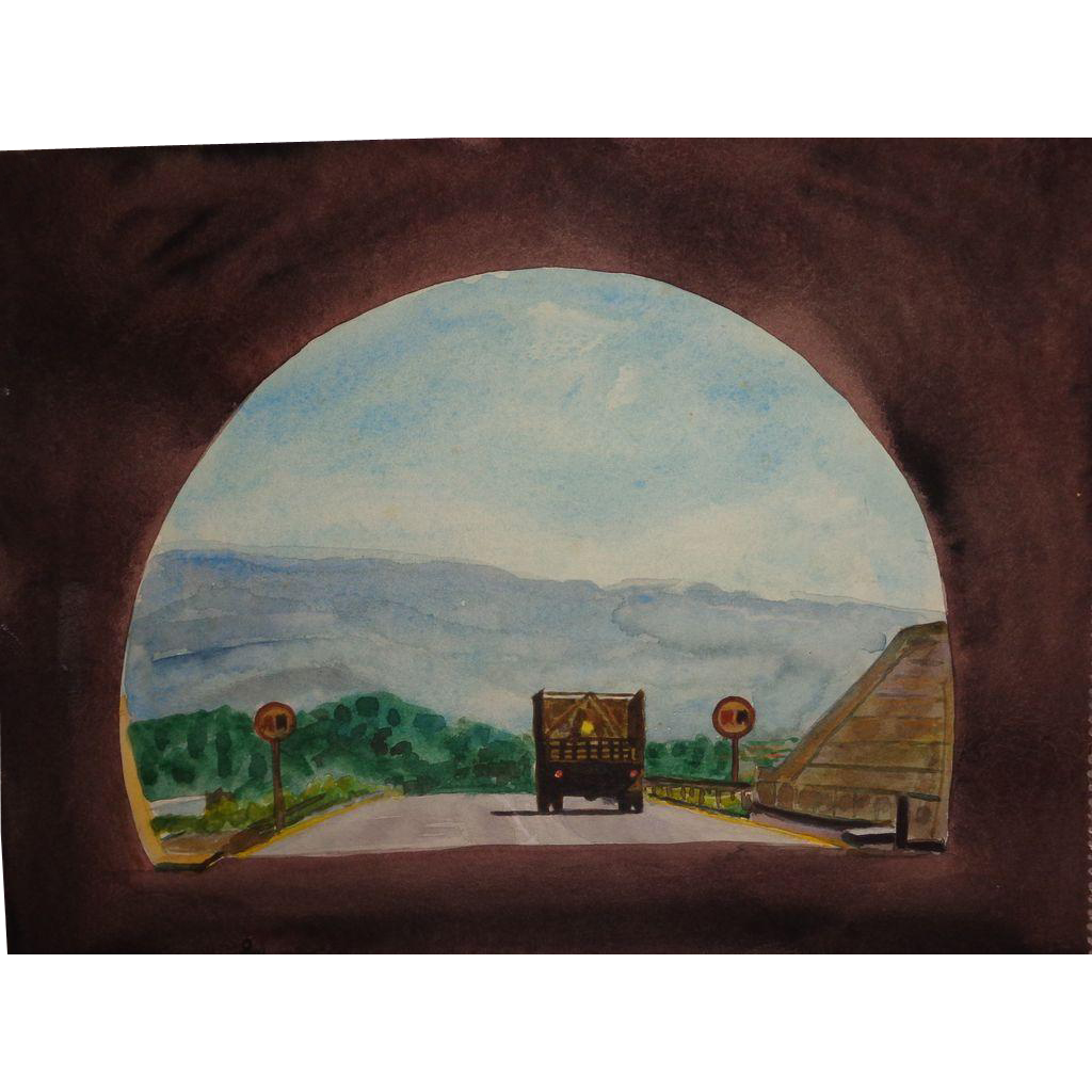 "CARLTON (American Artist) - ""End Of The Tunnel"" - Original Watercolor, Signed"