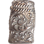 Shiebler Silver Match Safe (Vesta) - Exquisite Repousse Foliate Scroll  - circa 1890