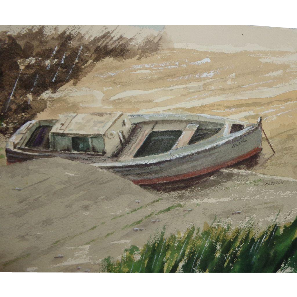 "CARLTON (American Artist) - ""Safe Harbor"" - Original Watercolor, Signed"