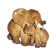 Mother and Baby Elephants- Wonderful Porcelain Sculpture by Guido Cacciapuoti (1892-1953)