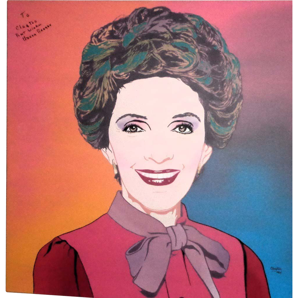 NANCY REAGAN Signed Clayton Lefevre Portrait, Circa 1984