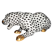 Herend Porcelain Closed Edition Black Fishnet Panther - A Fabulous Find!