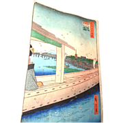 "Original Color Woodblock Print ""100 Views Of Edo"" By Hiroshige, circa 1857"