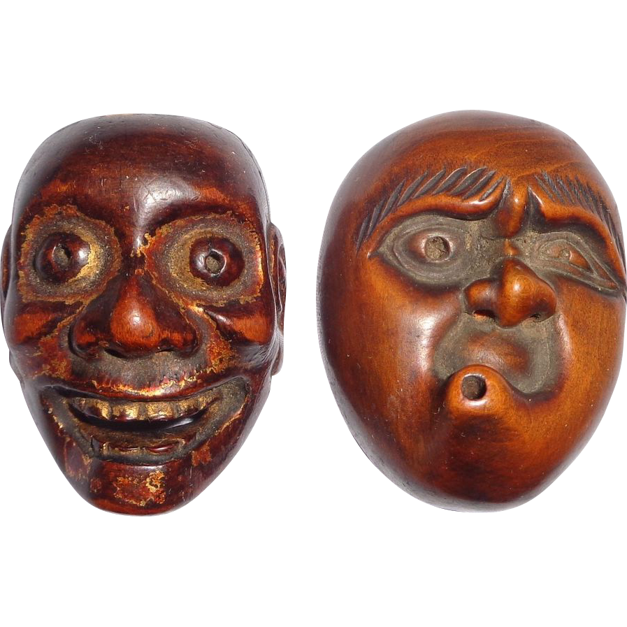 Antique Carved Mask Netsukes,  Signed Deme Joman and Iko