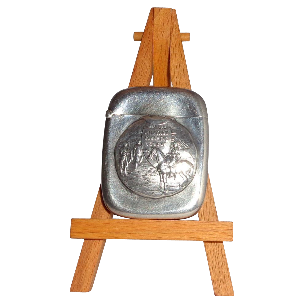 "Antique Sterling Silver Match Safe (Vesta) Inscribed ""Military Athletic League"" Within Shield"