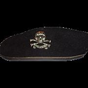 Larry Hagman's Bancroft (Military Cap) Beret With Skull Pin