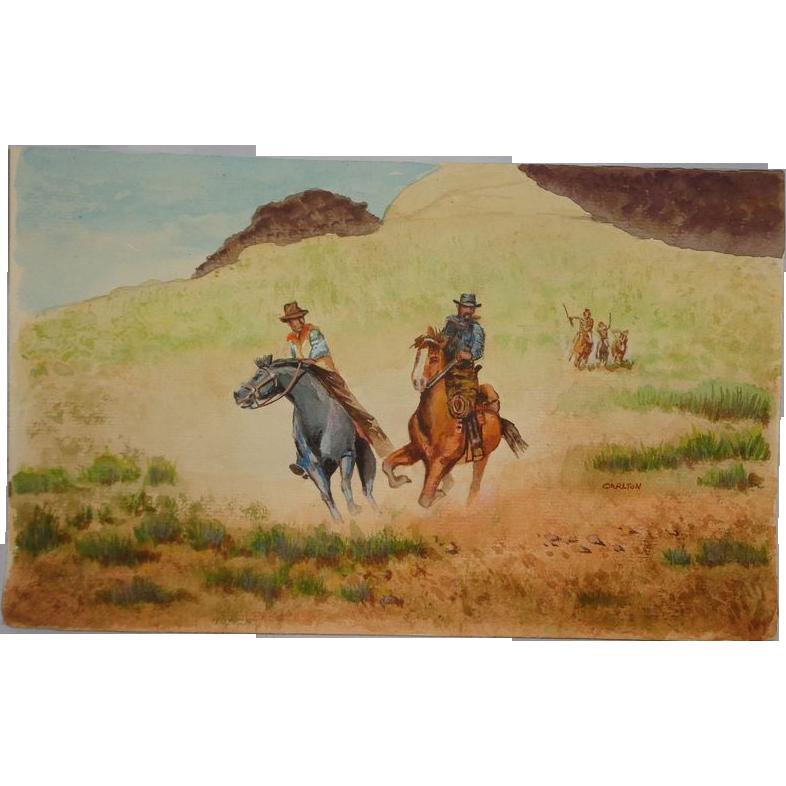 "Carlton (American 20th Century) - Original Watercolor - ""Run For Your Life"""