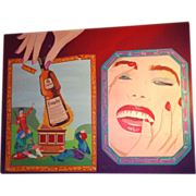 "Clayton Lefevre (20th Century) - ""Playful Interruption"" - Huge Original Painting -"