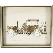 """Phyllis Diller Owned """"Horological Collage"""" Of An Antique Fire Truck, Signed"""
