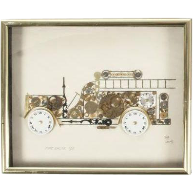 "Phyllis Diller Owned ""Horological Collage"" Of An Antique Fire Truck, Signed"