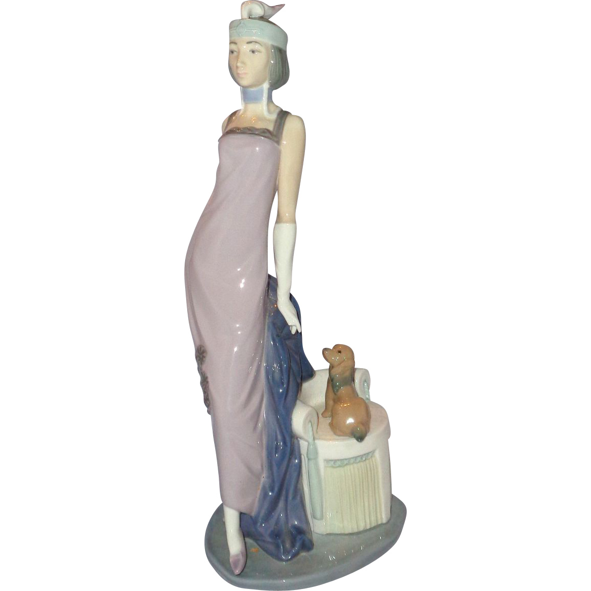 "Lladro ""Roaring Twenties"" Retired Edition - Flapper With Her Puppy; Original Box"