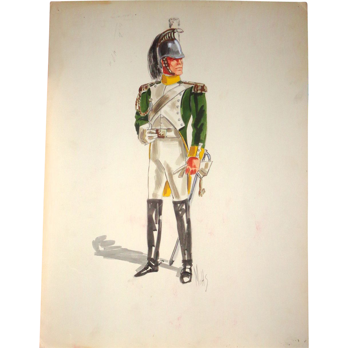 Signed Original Military Sketch By  Jack Muhs,  Circa 1960s