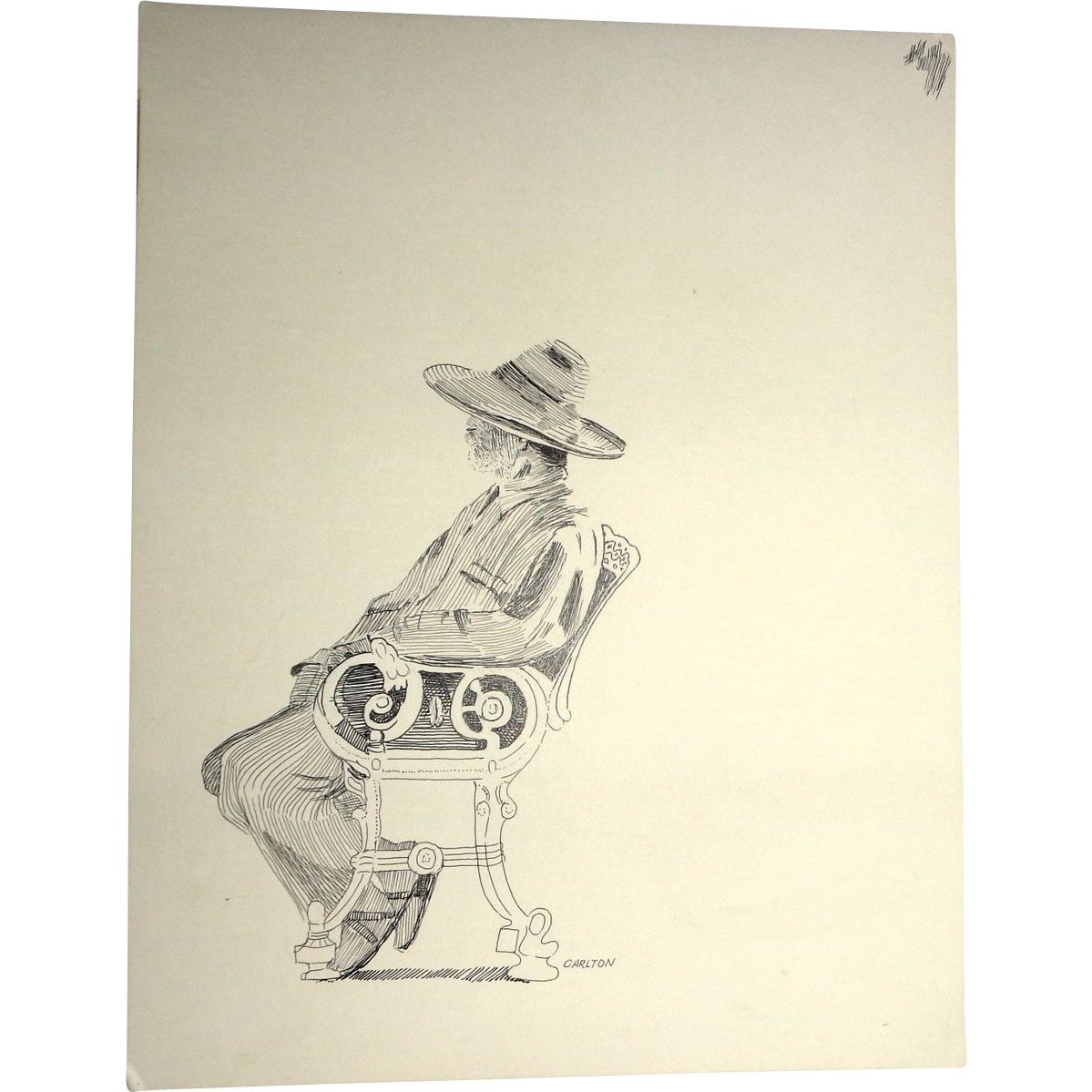 "Original Drawing ""Contemplation"" By Carlton (American 20th Century)"