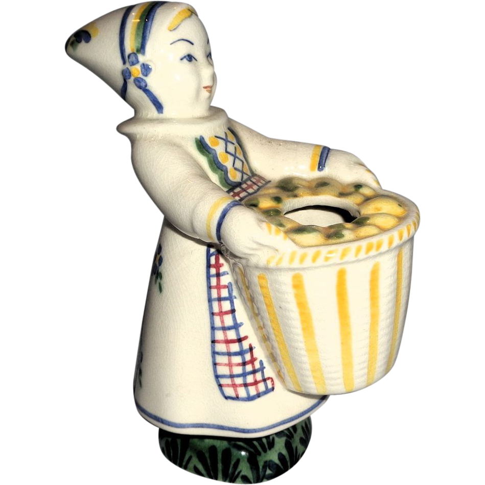 """Royal Copenhagen Hand-Painted Art Faience  """"Girl From Amager"""" Aluminia From Child Welfare Series, Circa 1943"""