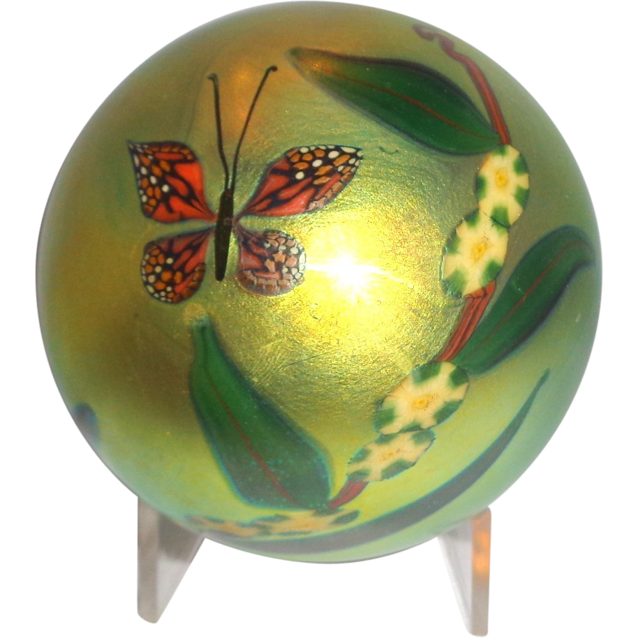 Steven Lundberg Personally Signed Large Paperweight, Enchanting Iridescent With Butterfly, Flowers, Foliage and Happiness