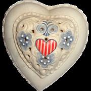 Cybis Vintage Cybis Porcelain Stars and Stripes Heart-Shaped Lidded Box, Signed