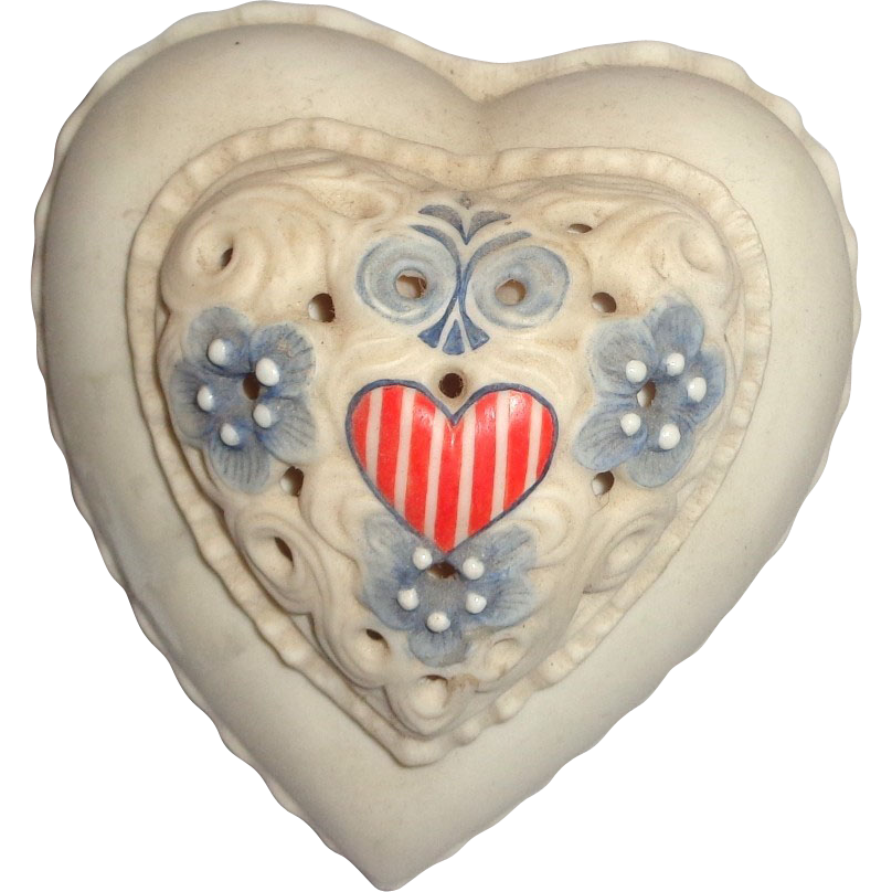 Cybis Vintage Cybis Porcelain Stars and Stripes Heart-Shaped Lidded Box, Signed