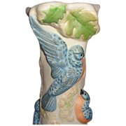 Cybis Bisque Porcelain Vase With Birds And Leaves All Around
