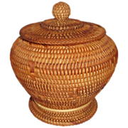 Woven Lidded Basket With Intriguing Design, Circa 1890/1910