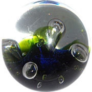 """Caithness Abstract Art Glass Paperweight """"Moonflower"""" Signed, Numbered, Scotland"""