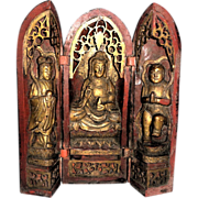 Antique Chinese Triptych Shrine, Well-Carved and Gilt Lacquered Wood - AS IS - Red Tag Sale Item