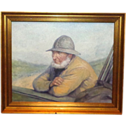 Original Signed Oil Portrait Of A Fisherman By Well-Listed Danish Artist Niels Walseth (1914-2001)