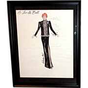 Lucille Ball Costume Design Sketch By Warden Neil. Signed