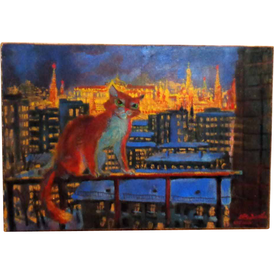 """Red Cat Over Kremlin"" Original 20th Century Russian Painting, Signed"