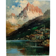 Original Antique Oil Of Seaside Mountain Village, Continental School