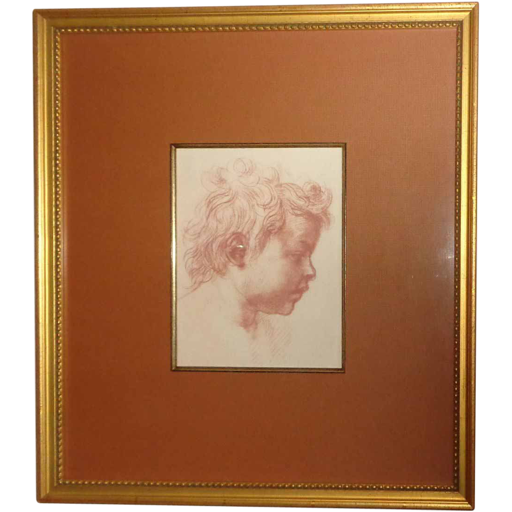 Red Chalk Drawing Of A Cherub's Face By Daniel Fletcher, From Larry Hagman's Collection