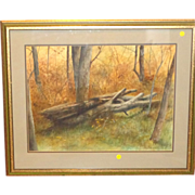 "P. Sinclair ""When A Tree Falls In The Forest"" Original Watercolor, Signed"