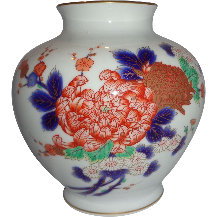 Signed Vintage Porcelain Japanese Vase, Baluster Form,  With Exquisite Flowers