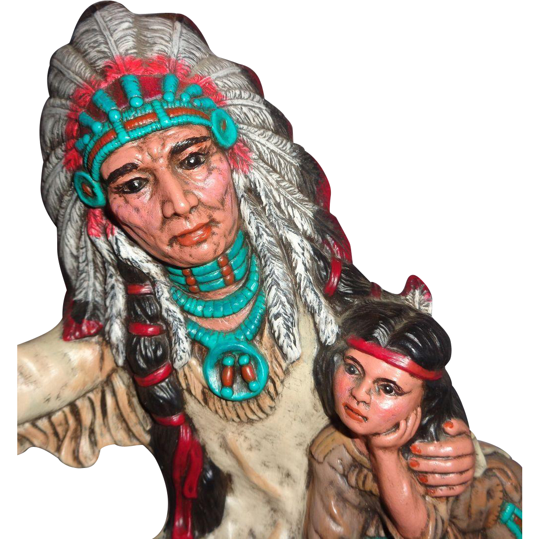 LARRY HAGMAN'S ESTATE - Sculpture of Indian Chief And Child, Bayou Betty Inscribed,  With Personal Note