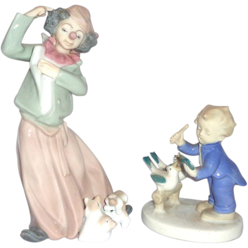 "TWO ""Having Fun With Our Pets"" Porcelains - One Clown With Puppies, One Child With Birds,"