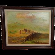 "Anatole Efimoff  Original Oil, ""Caravan of Camels Crossing Bridge""Anatoleii Aleksandrovich Efimov (Russian 1897 - 1981)"