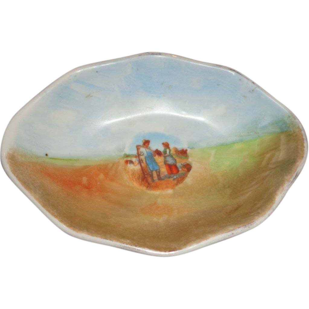 Limoges Signed Porcelain Bowl With Couple and Farm Scene, Charming